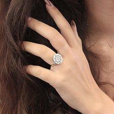 Серебряный перстень Дизайнерская ромашка в стиле Булгари с белыми фианитами