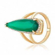 Золотое кольцо Галадриэль с зеленым ониксом и фианитами