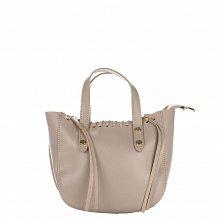 Кожаная сумка на каждый день Genuine Leather 1022 цвета тауп на молнии со съемным ремнем