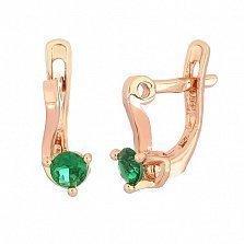 Позолоченные серьги из серебра с зелеными фианитами Диляра