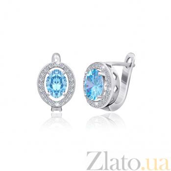 Серьги из серебра Индира с голубыми и белыми фианитами SLX--СК2ФТ/384