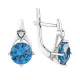 Серебряные серьги Фрагранс с голубым кварцем и фианитами