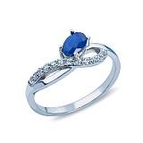 Серебряное кольцо с цирконами и сапфиром Василек