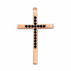 Декоративный крестик из красного золота с черными бриллиантами 000135469