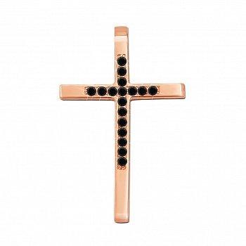 Декоративний хрестик з червоного золота з чорними діамантами 000135469