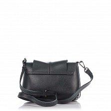 Кожаный клатч Genuine Leather 1382 темно-серого цвета с декором на клапане и плечевым ремнем