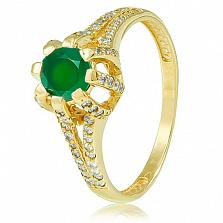 Золотое кольцо Кристина в желтом цвете с зеленым ониксом и фианитами