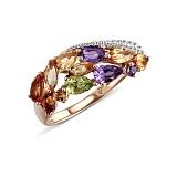 Кольцо из красного золота Николь с цитрином, аметистом и бриллиантами