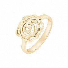 Кольцо Чайная роза в желтом золоте