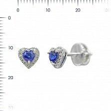 Серьги-пуссеты из белого золота Весенняя любовь с бриллиантами и сапфиром