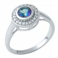 Серебряное кольцо Афина с мистик топазом и фианитами