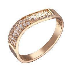 Кольцо из красного золота с фианитами 000071267