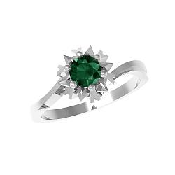 Серебряное кольцо Наоми с изумрудом