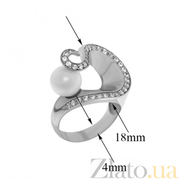 Серебряное кольцо с жемчугом и фианитами Ариадна TNG--320789С