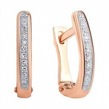Золотые серьги в комбинированном цвете с бриллиантами 000117300