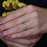 Серебряное кольцо Мелисса с голубым топазом и фианитами