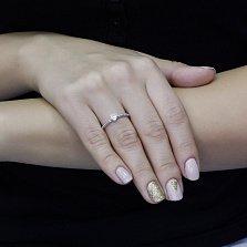 Серебряное кольцо История любви с белым фианитом в форме сердца