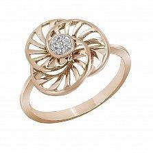 Кольцо из красного золота Карусель с бриллиантами