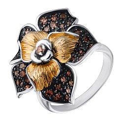 Серебряное кольцо с коньячными фианитами, позолотой и черным родированием 000132881