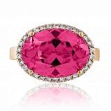 Золотое кольцо Мейнид с корундом рубина и фианитами
