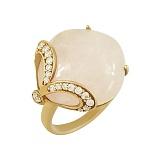 Серебряное кольцо с розовым кварцем и фианитами Гвенн