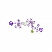 Серебряная брошь с аметистами Виолетта