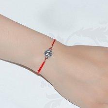Шелковый браслет Буква Ю с серебряной вставкой
