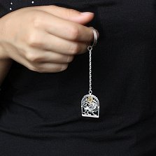 Серебряный брелок Знак зодиака Лев с позолотой