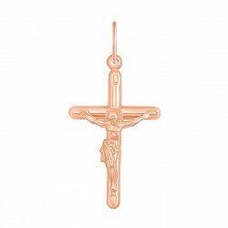 Золотой крестик Таинство в красном цвете лаконичной формы небольшого размера