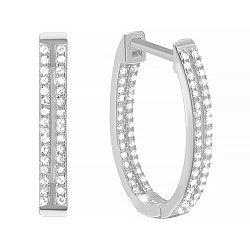 Серебряные серьги с цирконием,  d 24мм 000035324