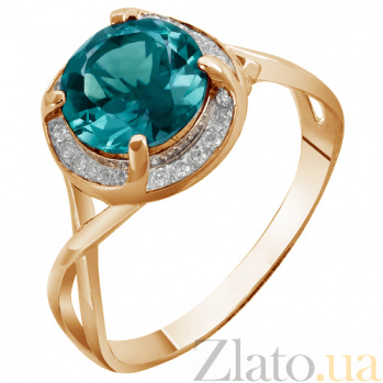 Кольцо в красном золоте Алисия с синтезированным лондон топазом и фианитами 000023495