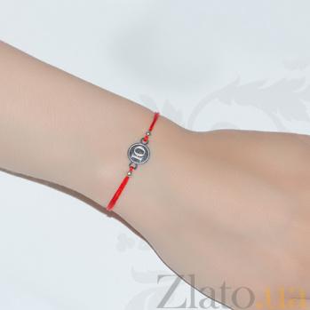 Шелковый браслет Буква Ю с серебряной вставкой Буква Ю