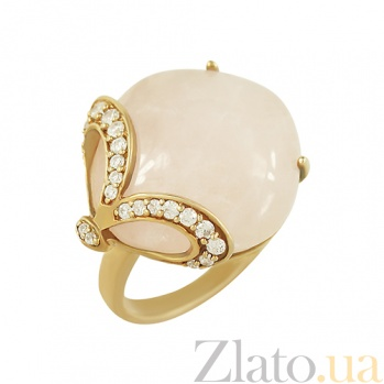 Серебряное кольцо с розовым кварцем и фианитами Гвенн 3К714-0002