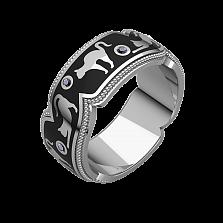 Мужское золотое обручальное кольцо Gatti с бриллиантами и черной эмалью