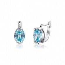 Серебряные серьги с голубыми фианитами Лидия
