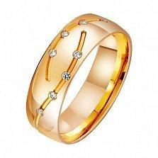 Золотое обручальное кольцо Узы Гименея с фианитами