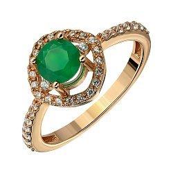 Кольцо из красного золота с агатом и фианитами 000136049