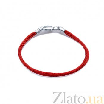 Шелковый браслет с серебряной застежкой Красная нить, 2мм 000027087