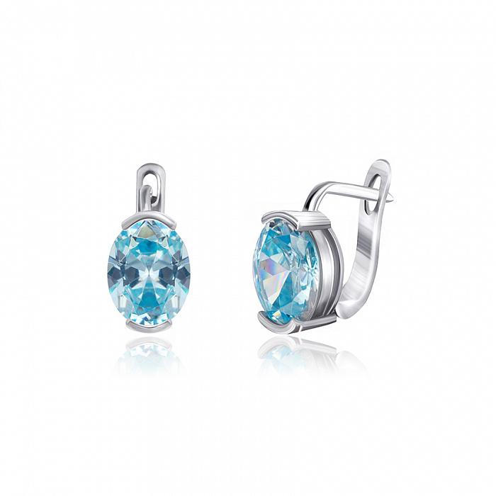 Серебряные серьги с голубыми фианитами Лидия SLX--СК2ФТ/378