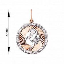 Кулон в комбинированном цвете золота Знак Зодиака Скорпион с фианитами и алмазной гранью 000129708