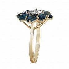 Кольцо из желтого золота Анемона с топазами и бриллиантами