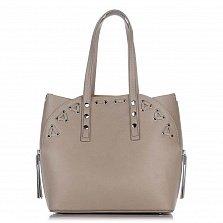 Кожаная сумка на каждый день Genuine Leather 8657 цвета тауп с дополнительной сумкой-вкладышем