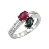 Золотое кольцо с рубином, сапфиром и бриллиантами Амбер