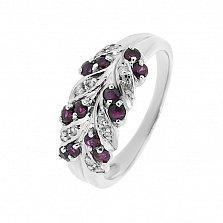Серебряное кольцо Колосок с рубинами и бриллиантами