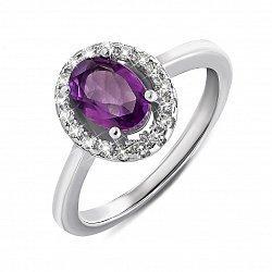 Серебряное кольцо с аметистом и фианитами 000135307