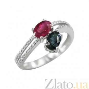 Золотое кольцо с рубином, сапфиром и бриллиантами Амбер 000026946