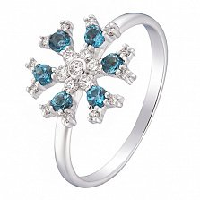 Кольцо в белом золоте Снежинка с лондон топазом и бриллиантами