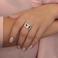 Серебряное кольцо Милые мишки с черной и белой эмалью и золотыми накладками