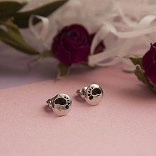 Серебряные круглые пуссеты Следочки с черной эмалью