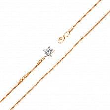 Золотой браслет на ногу Звезда в комбинированном цвете с фианитами
